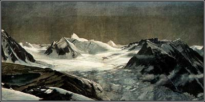 The diorama of the Kauner valley glacier, painted for the 1893 Chicago world's fair. From the collection of Willi Pechtl.